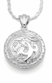 Phoenix Round Sterling Silver Cremation Jewelry Pendant Necklace
