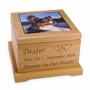 Photo and Personalized Red Alder Wood Pet Cremation Urn - 2 Sizes