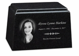 Photo Black Granite Promise Cremation Urn - 3 Sizes