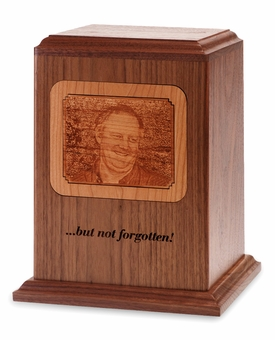 Photo Etched Reflection Wood Cremation Urn - Engravable