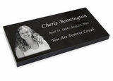 Photo Grave Marker Black Granite Laser-Engraved Memorial Headstone