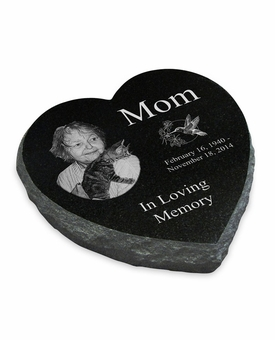 Photo Laser-Engraved Heart Marker Black Granite Memorial