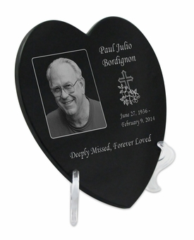 Photo Laser-Engraved Heart Plaque Black Granite Memorial