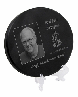 Photo Laser-Engraved Oval Plaque Black Granite Memorial