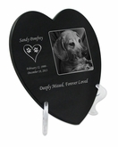 Photo Laser-Engraved Pet Heart Plaque Black Granite Memorial