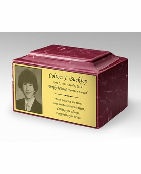 Photo or Graphic Plaque Berry Red Classic Cultured Marble Cremation Urn Vault