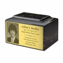 Photo or Graphic Plaque Black Gold Classic Cultured Marble Cremation Urn Vault