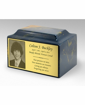 Photo or Graphic Plaque Blue and Gold Classic Cultured Marble Cremation Urn Vault