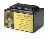Photo or Graphic Plaque Ebony Classic Cultured Marble Cremation Urn Vault