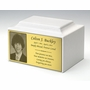 Photo or Graphic Plaque Glacier White Classic Cultured Marble Cremation Urn Vault