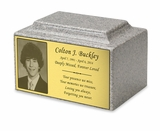 Photo or Graphic Plaque Mist Gray Classic Cultured Marble Cremation Urn Vault