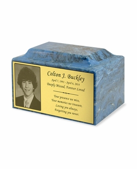 Photo or Graphic Plaque Mystic Blue Classic Cultured Marble Cremation Urn Vault