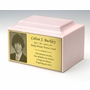 Photo or Graphic Plaque Pink Classic Cultured Marble Cremation Urn Vault