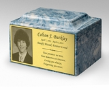 Photo or Graphic Plaque Sky Blue Classic Cultured Marble Cremation Urn Vault