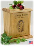 Photo Portrait Engraved Wood Cremation Urn