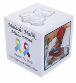 Photo Infant Cremation Urn Cube with Teddy Bear - Pink, Blue or White