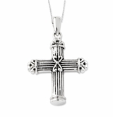 Pillar Cross Antiqued Sterling Silver Cremation Jewelry Necklace