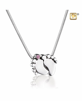 Pink Crystal Baby Feet Rhodium Plated Sterling Silver Cremation Jewelry Pendant Necklace