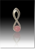 Pink Harmony Cremains Encased in Glass Sterling Silver Cremation Jewelry Pendant