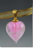 Pink Heart Cremains Encased in Glass Cremation Jewelry Pendant