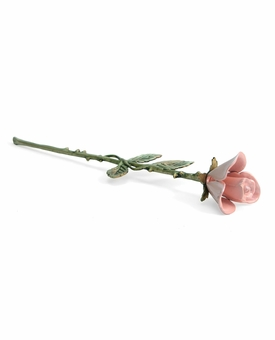 Pink Long Stem Rose Brass Keepsake Cremation Urn