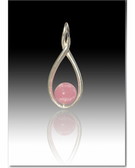 Pink Melody Twist Cremains Encased in Glass Sterling Silver Cremation Jewelry Pendant