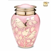 Pink with Gold Blessing Birds Cremation Urn