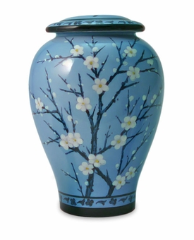 Plum Blossom Hand Painted Ceramic Cremation Urn