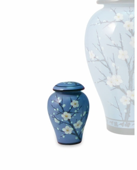 Plum Blossom Hand Painted Ceramic Keepsake Cremation Urn