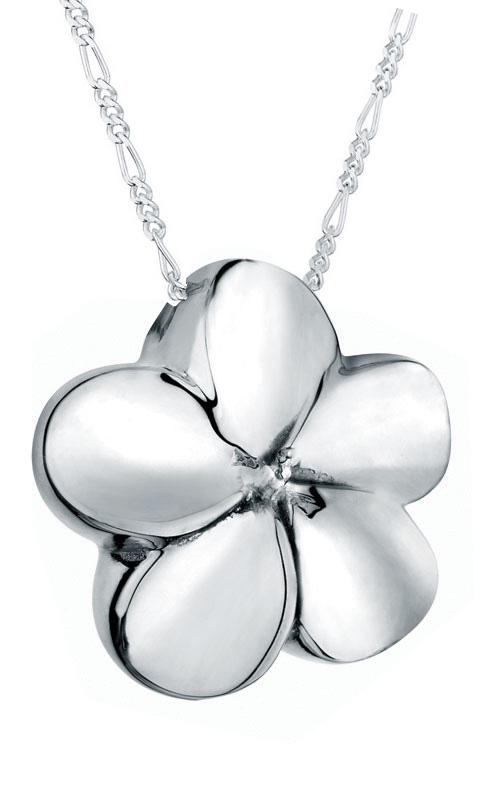 Plumeria Flower Sterling Cremation Jewelry Pendant Necklace For Ashes