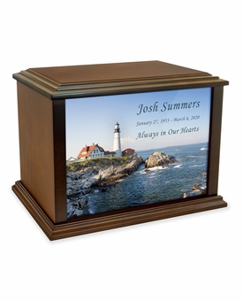Portland Head Lighthouse Eternal Reflections Wood Cremation Urn - 3 Sizes