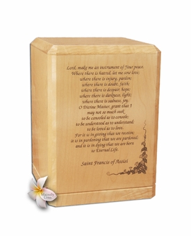 Prayer of St. Francis Classic Maple Wood Cremation Urn