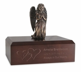 Praying Angel Girl Bronze Finish Resin and Walnut Wood Infant Child Cremation Urn