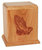 Praying Hands Cherry Wood Newport Laser Carved Cremation Urn