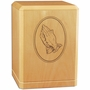Praying Hands Classic Maple Wood Cremation Urn