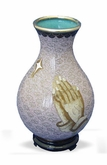 Praying Hands Cloisonne Bud Vase