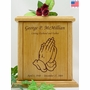 Praying Hands Engraved Wood Cremation Urn