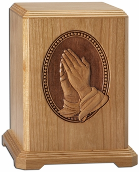 Praying Hands Laser Carved Cherry Wood Cremation Urn