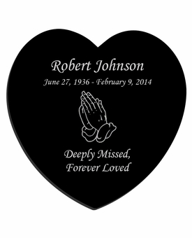 Praying Hands Laser-Engraved Heart Plaque Black Granite Memorial