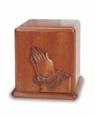 Praying Hands Mahogany Cremation Urn - Engravable