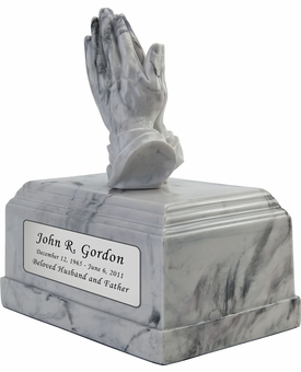 Praying Hands Marbleized Alabastrite Cremation Urn