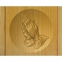 Praying Hands Relief Carved Engraved Wood Cremation Urn