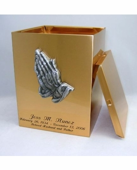 Praying Hands Sheet Bronze Snap-Top Cremation Urn