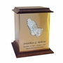 Praying Hands Sheet Bronze With Walnut Trim Snap-Top Cremation Urn