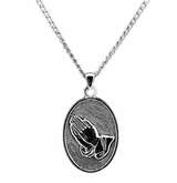 Praying Hands Sterling Silver Cremation Jewelry Necklace