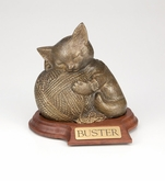 Precious Kitty Gold Pet Cremation Urn with Walnut Base