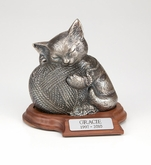 Precious Kitty Silver Pet Cremation Urn with Walnut Base