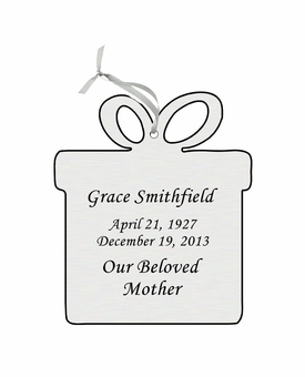 Present Double-Sided Memorial Ornament - Engraved - Silver