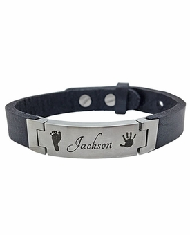 Prints and Signature Leather Band Stainless Steel Memorial Bracelet