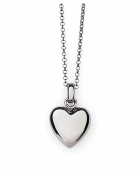 Puff Heart Black Rhodium Silver Cremation Necklace Pendant